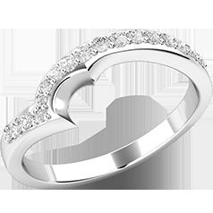 Verigheta cu Diamant/ Inel Eternity Dama Aur Alb 18kt cu 17 Diamante Rotund Briliant in Setare Gheare
