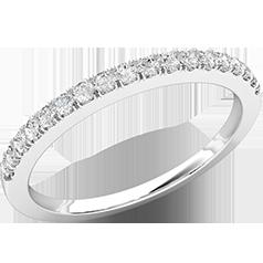Verigheta cu Diamant/ Inel Eternity Dama Aur Alb 18kt cu 18 Diamante Rotund Briliant in Setare Gheare, Latime 2mm