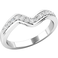 Verigheta cu Diamant/ Inel Eternity Dama Aur Alb 18kt cu 15 Diamante Taietura Rotunda Briliant, Latime 2.5mm