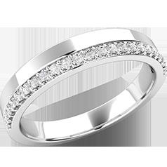 Verigheta cu Diamant Dama Aur Alb 18kt cu 23 de Diamante Rotund Briliant in Setare Gheare Top Plat Interior Rotunjit, Latime 3mm