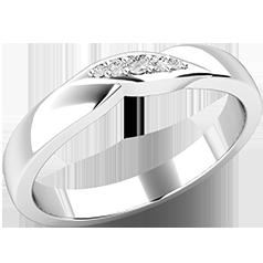 Verigheta cu Diamant Dama Aur Alb 18kt, cu 5 Diamante Rotund Briliant si Stil Twist in Centru