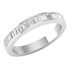 Verigheta cu Diamant/ Inel Eternity Dama Aur Alb 18kt cu 16 Diamante Forma Bagheta in Setare Canal