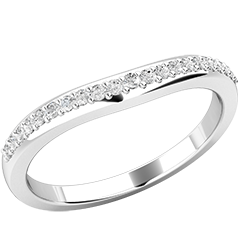 Verigheta cu Diamant/ Inel Eternity Dama Aur Alb 18kt cu 21 de Diamante Mici Rotund Briliant in Setare Gheare