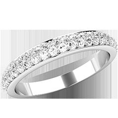 Verigheta cu Diamant/Inel Eternity Dama Platina cu Doua Randuri de Diamante Rotund Briliant in Setare Gheare