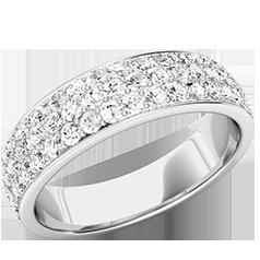 Verigheta cu Diamant/Inel Eternity Dama Aur Alb 18kt cu 3 Randuri de Diamante Mici Rotund Briliant in Setare Gheare