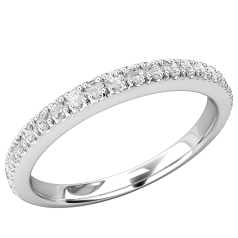 Verigheta cu Diamant/ Inel Eternity Dama Aur Alb 18kt cu 24 de Diamante Taietura Rotunda Briliant in Setare Gheare, Latime 2.3mm