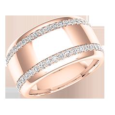 Verigheta cu Diamant/Inel Eternity Dama Aur Roz 18kt cu Doua Randuri de Diamante Mici Rotund Briliant pe Margini, Latime 10mm