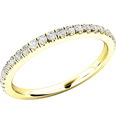 Verigheta cu Diamant/ Inel Eternity Dama Aur Galben 18kt cu Diamante Rotund Briliant in Setare Gheare pe toata Banda