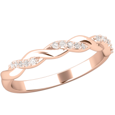 Verigheta cu Diamant/ Inel Eternity Dama Aur Roz 18kt cu Briliante Rotunde, Design Impletit
