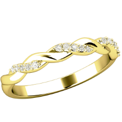 Verigheta cu Diamant/ Inel Eternity Dama Aur Galben 18kt cu Briliante Rotunde, Design Impletit