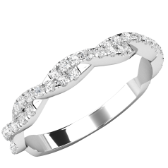Verigheta cu Diamant/ Inel Semi-Eternity Dama Aur Alb 18kt cu 50 Diamante Rotunde, Design Impletit