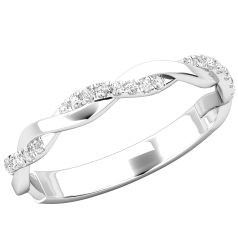 Verigheta cu Diamant/ Inel Eternity Dama Aur Alb 18kt cu 24 Diamante Rotunde Mici, Design Impletit