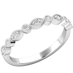 Inel Semi Eternity/ Verigheta cu Diamante Dama Aur Alb 18kt cu 9 Diamante Rotunde Briliant, decorat cu Milgrain