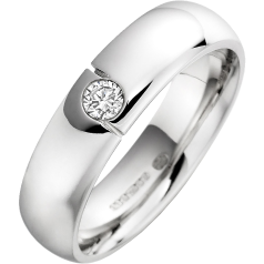 Diamond Set Wedding Ring for Men in Palladium with a Round Brilliant Cut Diamond and Court Profile