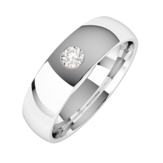 Diamond Set Wedding Ring for Men in 18ct White Gold with a Round Brilliant Cut Diamond and Court Profile
