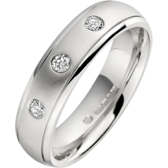 Diamond Ring/Diamond set Wedding Ring for Men in palladium with 3 round diamonds, court profile