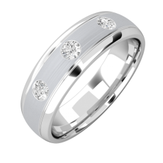 Diamond Ring/Diamond set Wedding Ring for Men in 18ct white gold with 3 round diamonds, court profile