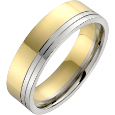 Plain Wedding Ring for Men in 18ct Yellow and White Gold, Flat Top/Courted Inside, Width 6mm