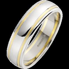 Verigheta Simpla Barbat Aur Alb 18kt cu 2 Linii din Aur Galben Profil Rotunjit Latime 5.75mm
