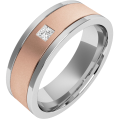 Diamond Ring/Diamond set Wedding Ring for Men in 18ct rose and white gold with a princess cut diamond, flat top/courted inside, width 6.25mm