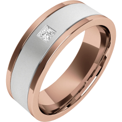 Diamond Ring/Diamond set Wedding Ring for Men in 18ct white and rose gold with a princess cut diamond, flat top/courted inside, width 6.25mm