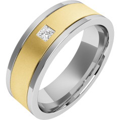 Diamond Ring/Diamond set Wedding Ring for Men in 18ct yellow and white gold with a princess cut diamond, flat top/courted inside, width 6.25mm