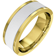 Plain Wedding Band for Men in 18ct White and Yellow Gold, Sandblasted with Polished Edges, Flat Top/Courted Inside, Width 6.25mm