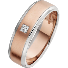 Diamond Ring/Diamond set Wedding Ring for Men in 18ct rose and white gold with a single princess cut diamond