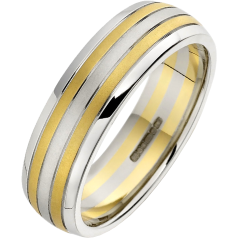 Plain Wedding Ring for Men in 18ct White Gold with Two Yellow Gold Rows, Court Profile, Width 6.25mm