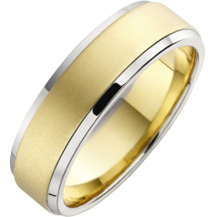 Plain Wedding Ring for Men in 18ct Yellow Gold Sandblasted with White Gold Dropped Edges, Flat Top/Courted Inside, Width 6mm