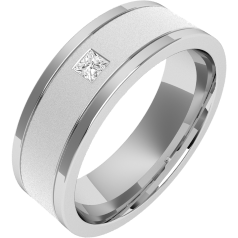Diamond Set Wedding Ring for Men in 18ct White Gold with a Princess Cut Diamond, Flat Top/Courted Inside, Sandblasted with Polished Edges