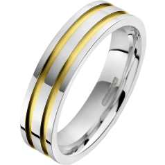 Plain Wedding Ring for Men in 18ct Yellow and White Gold with Two Sandblasted Grooves, Flat Top/Courted Inside