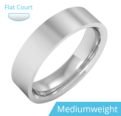 Plain Wedding Band for Men in 9ct White Gold, Polished, Flat Top/Courted Inside, Medium Weight