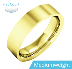 Plain Wedding Band for Men in 9ct Yellow Gold, Polished, Flat Top/Courted Inside, Medium Weight