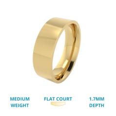 RDWG026Y - Verighetă bărbaţi aur galben de 18kt, greutate medie, lustruită, exterior plat/interior rotunjit.