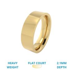 RDWG026YH - Verighetă bărbaţi aur galben de 18kt, greutate mare, lustruită, exterior plat/interior rotunjit.