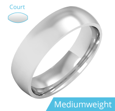 Plain Wedding Band for Men in 9ct White Gold, Polished, Court Profile, Medium Weight