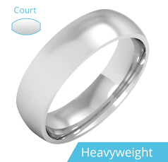 Plain Wedding Band for Men in 9ct White Gold, Polished, Court Profile, Heavy Weight