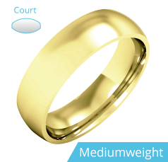 Plain Wedding Band for Men in 9ct Yellow Gold, Polished, Court Profile, Medium Weight