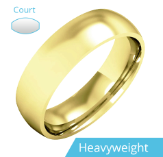 Plain Wedding Band for Men in 9ct Yellow Gold, Polished, Court Profile, Heavy Weight