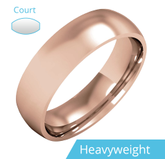 Plain Wedding Band for Men in 18ct Rose Gold, Polished, Court Profile, Heavy Weight
