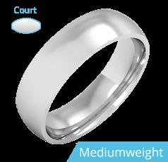Plain Wedding Band for Men in 950 Palladium, Polished, Court Profile, Medium Weight