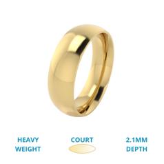 RDWG027YH - 18kt Gelbgold Herren bombierter, Schwergewicht, polierter Ehering