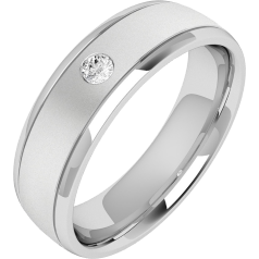 Diamond Ring/Diamond set Wedding Ring for Men in palladium with one round brilliant cut diamond, soft courted profile