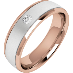 Diamond Ring/Diamond set Wedding Ring for Men in 18ct white and rose gold with one round brilliant cut diamond, soft courted profile, width 6.25mm