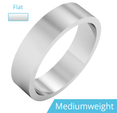 Plain Wedding Band for Men in 9ct White Gold, Polished, Flat Shape, Medium Weight