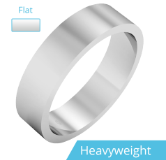 Plain Wedding Band for Men in 9ct White Gold, Polished, Flat Shape, Heavy Weight