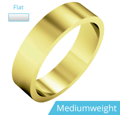 Plain Wedding Band for Men in 9ct Yellow Gold, Polished, Flat Shape, Medium Weight