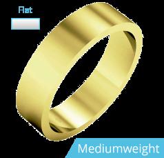 Einfacher Ehering für Mann in 9kt Gelbgold, poliert, flaches Profil, Mittelgewicht