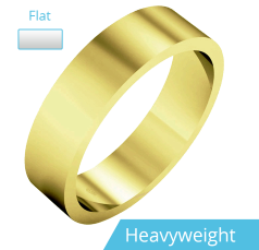 Plain Wedding Band for Men in 9ct Yellow Gold, Polished, Flat Shape, Heavy Weight